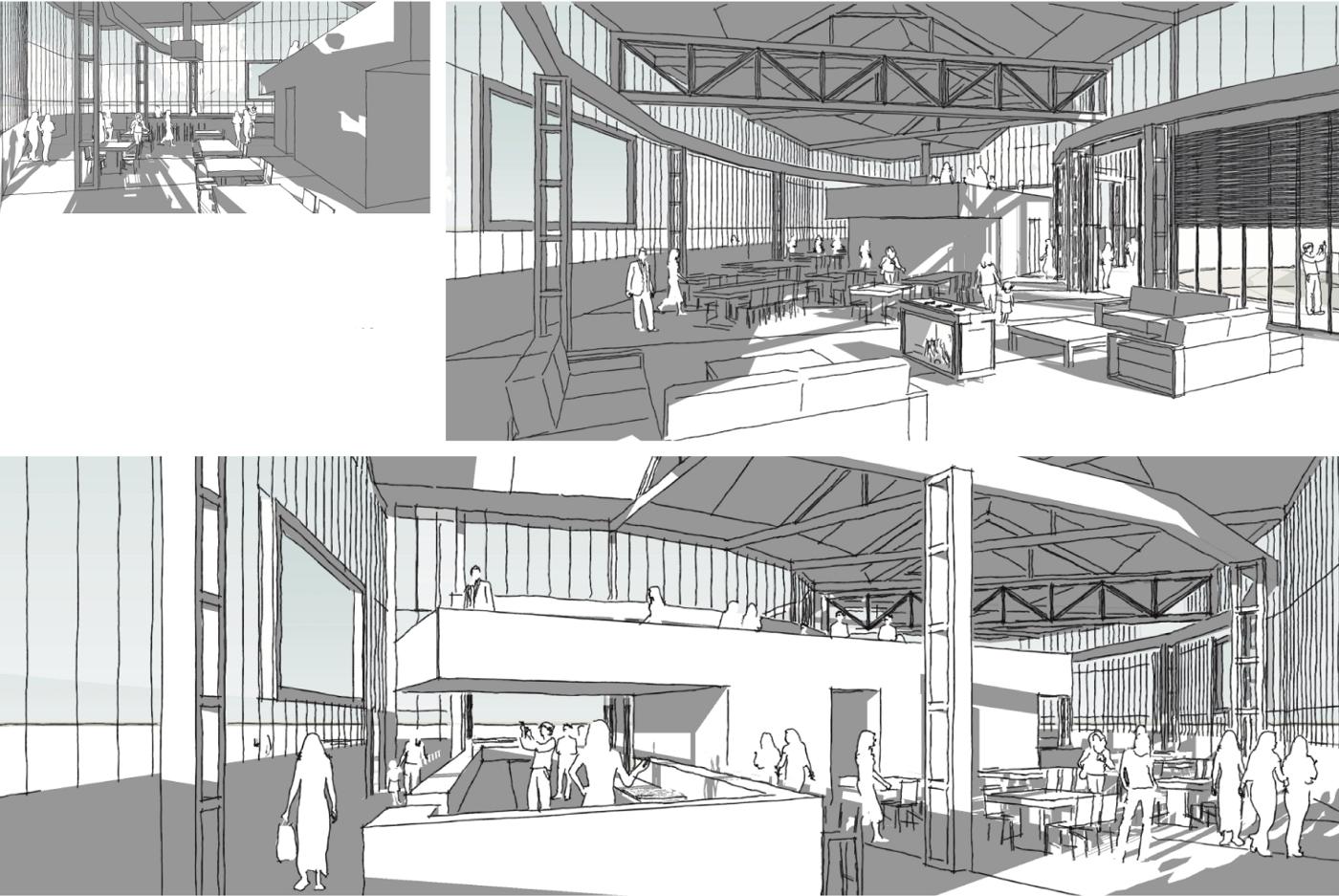 Invulling polygonaal loods Tilburg interieur • Studio Slotboom